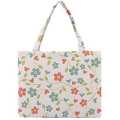 Abstract Vintage Flower Floral Pattern Mini Tote Bag