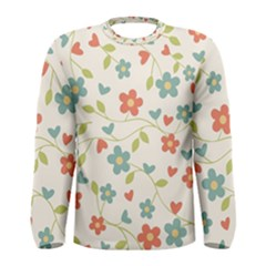 Abstract Vintage Flower Floral Pattern Men s Long Sleeve Tee