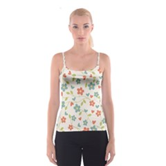Abstract Vintage Flower Floral Pattern Spaghetti Strap Top