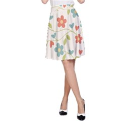 Abstract Vintage Flower Floral Pattern A Line Skirt