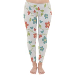 Abstract Vintage Flower Floral Pattern Classic Winter Leggings