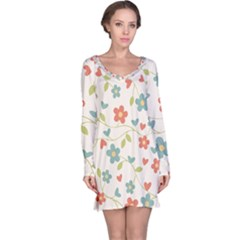Abstract Vintage Flower Floral Pattern Long Sleeve Nightdress