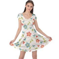 Abstract Vintage Flower Floral Pattern Cap Sleeve Dresses