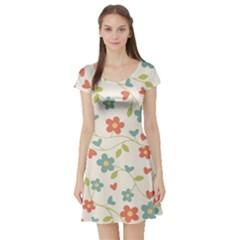 Abstract Vintage Flower Floral Pattern Short Sleeve Skater Dress