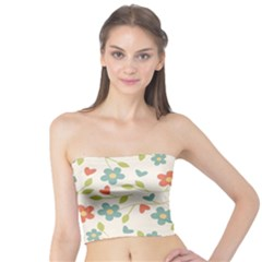 Abstract Vintage Flower Floral Pattern Tube Top