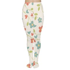 Abstract Vintage Flower Floral Pattern Women s Tights