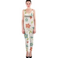 Abstract Vintage Flower Floral Pattern Onepiece Catsuit