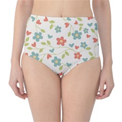 Abstract Vintage Flower Floral Pattern High Waist Bikini Bottoms