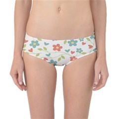Abstract Vintage Flower Floral Pattern Classic Bikini Bottoms