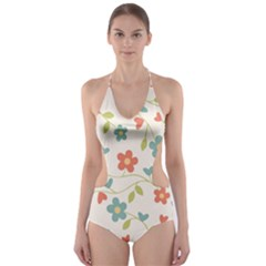 Abstract Vintage Flower Floral Pattern Cut Out One Piece Swimsuit
