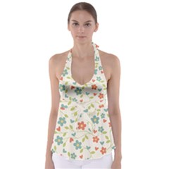 Abstract Vintage Flower Floral Pattern Babydoll Tankini Top