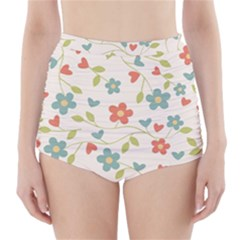 Abstract Vintage Flower Floral Pattern High-Waisted Bikini Bottoms