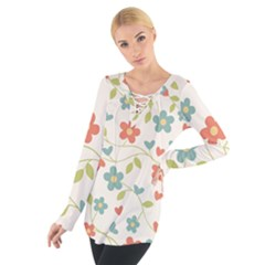 Abstract Vintage Flower Floral Pattern Women s Tie Up Tee