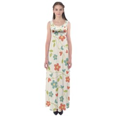 Abstract Vintage Flower Floral Pattern Empire Waist Maxi Dress