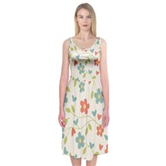 Abstract Vintage Flower Floral Pattern Midi Sleeveless Dress