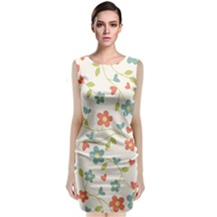 Abstract Vintage Flower Floral Pattern Classic Sleeveless Midi Dress