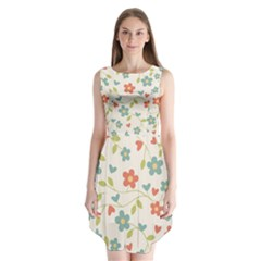 Abstract Vintage Flower Floral Pattern Sleeveless Chiffon Dress
