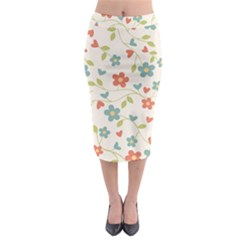 Abstract Vintage Flower Floral Pattern Midi Pencil Skirt