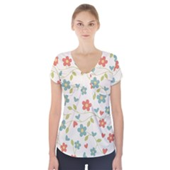 Abstract Vintage Flower Floral Pattern Short Sleeve Front Detail Top