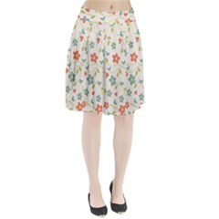Abstract Vintage Flower Floral Pattern Pleated Skirt