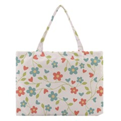 Abstract Vintage Flower Floral Pattern Medium Tote Bag