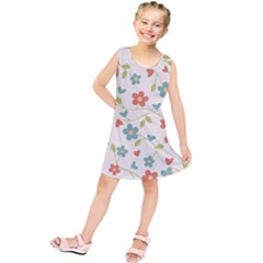 Abstract Vintage Flower Floral Pattern Kids  Tunic Dress