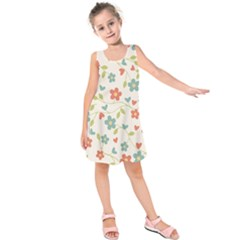 Abstract Vintage Flower Floral Pattern Kids  Sleeveless Dress