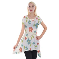Abstract Vintage Flower Floral Pattern Short Sleeve Side Drop Tunic
