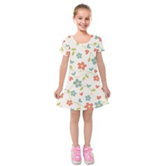 Abstract Vintage Flower Floral Pattern Kids  Short Sleeve Velvet Dress