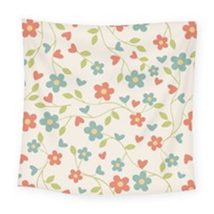 Abstract Vintage Flower Floral Pattern Square Tapestry (large)