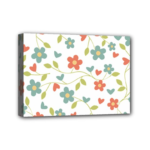 Abstract Vintage Flower Floral Pattern Mini Canvas 7  X 5