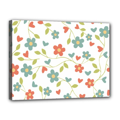 Abstract Vintage Flower Floral Pattern Canvas 16  X 12