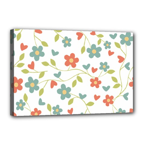 Abstract Vintage Flower Floral Pattern Canvas 18  X 12