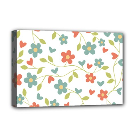 Abstract Vintage Flower Floral Pattern Deluxe Canvas 18  X 12