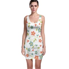 Abstract Vintage Flower Floral Pattern Sleeveless Bodycon Dress
