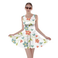 Abstract Vintage Flower Floral Pattern Skater Dress