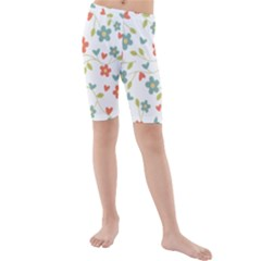 Abstract Vintage Flower Floral Pattern Kids  Mid Length Swim Shorts