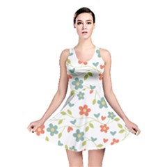 Abstract Vintage Flower Floral Pattern Reversible Skater Dress