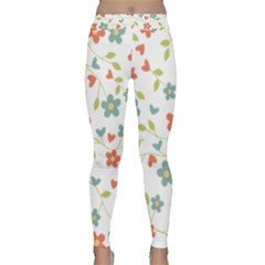 Abstract Vintage Flower Floral Pattern Classic Yoga Leggings