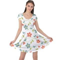 Abstract Vintage Flower Floral Pattern Cap Sleeve Dresses