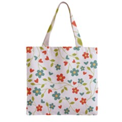 Abstract Vintage Flower Floral Pattern Zipper Grocery Tote Bag