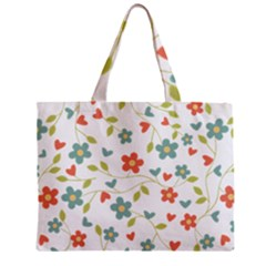 Abstract Vintage Flower Floral Pattern Zipper Mini Tote Bag