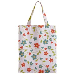 Abstract Vintage Flower Floral Pattern Zipper Classic Tote Bag