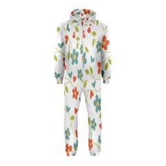 Abstract Vintage Flower Floral Pattern Hooded Jumpsuit (kids)