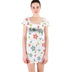 Abstract Vintage Flower Floral Pattern Short Sleeve Bodycon Dress