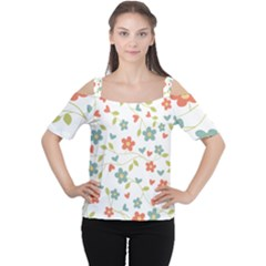 Abstract Vintage Flower Floral Pattern Women s Cutout Shoulder Tee