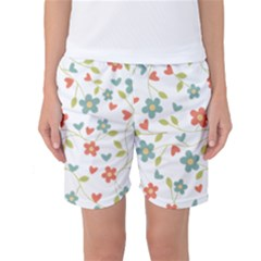 Abstract Vintage Flower Floral Pattern Women s Basketball Shorts