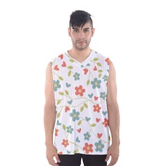 Abstract Vintage Flower Floral Pattern Men s Basketball Tank Top