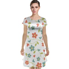 Abstract Vintage Flower Floral Pattern Cap Sleeve Nightdress