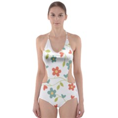 Abstract Vintage Flower Floral Pattern Cut-Out One Piece Swimsuit